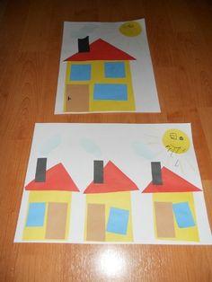 domečky - lepení nastříhaných dílů