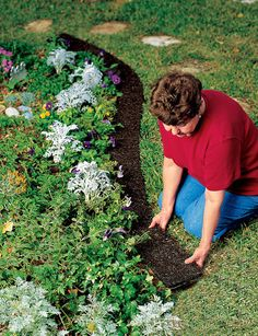 Edge Border, recycled rubber mulch, last for years, mow over