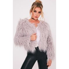 Liddie Grey Faux Fur Shaggy Cropped Jacket (£40) ❤ liked on Polyvore featuring outerwear, jackets, grey, grey faux fur coat, gray faux fur coat, grey coat, imitation fur coats and fake fur coats