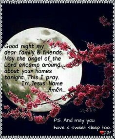 My prayers go out to you all. Good night my dear family and friends. May the angel of the Lord encamp around about your homes tonight. This I pray. In Jesus' Name. Amén. - PS. Sweet sleep too. {DM}