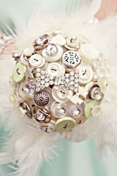 Pretty vintage and pearl button bouquet....