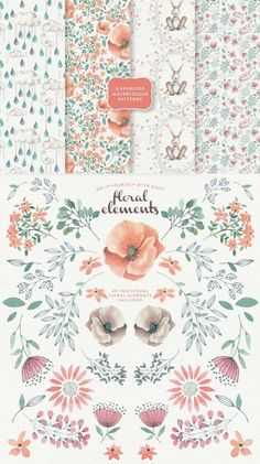 Magical Watercolor graphics Volume 2 by Lisa Glanz on Creative Market Watercolor Pattern, Watercolor Flowers, Watercolor Paintings, Draw Tutorial, Guache, Floral Border, Grafik Design, Animal Paintings, Nursery Art