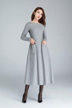 leichte graue Wollkleid mit zwei großen Seitentaschen von xiaolizi