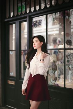 daily 2019 feminine& classy look Korean Beauty Girls, Pretty Korean Girls, Cute Korean Girl, Beautiful Asian Girls, Lolita Fashion, Girl Fashion, Ideal Girl, How To Look Classy, Women's Fashion Dresses