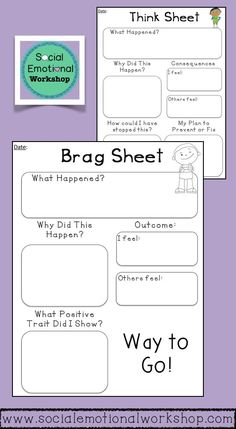Think Sheet and Brag Sheet Counseling Tools or Classroom Forms. Reflection sheets that can be used in classrooms or counseling sessions to help students think through their positive and negative actions. They can also be sent home or kept for your own records. I have found that sequential set-up helps students think through their actions and recreate positive patterns or repair negative ones.