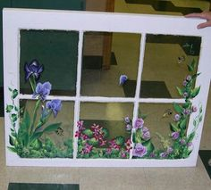 Custom Painted Old Window Screen Garden Scene Painted For