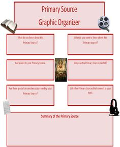 Primary Source Graphic Organizer - This could be a useful tool for students when researching information.