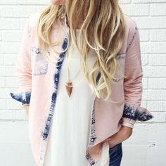 Rosé & Denim Shirt