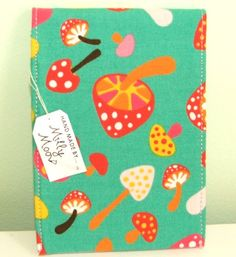 Fabric covered notepad in cute mushroom print from millymooaustralia etsy