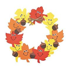 """1 ~ Smile Face Autumn Leaves Wreath Craft Kit ~ Makes 1 Wreath ~ Foam / Approx. 11"""" ~ New in Sealed Package."""