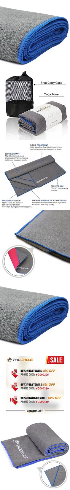 PROCIRCLE Yoga Towel - Blue - Microfiber Hot Yoga Towel, Bikram Yoga Towel, Ashtanga Yoga Towel - Super Absorbent, Non Slip, Machine Washable, Fast Drying - Free Carry Case