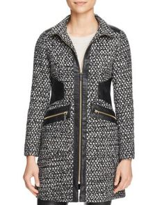 Via Spiga Popcorn Stitch Faux Leather-Trim Coat | Bloomingdale's