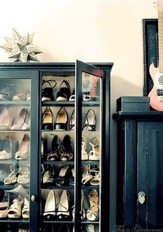 Shoe storage in repurposed china hutch