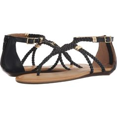 Report Lolla (Black) Women's Sandals ($25) ❤ liked on Polyvore featuring shoes, sandals, black, black wedge shoes, ankle strap wedge sandals, woven wedge sandals, black wedge sandals and braided sandals