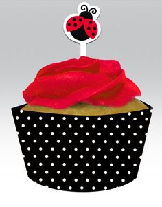 Ladybug Themed Cupcake Wrappers and Picks Set - Pink Frosting Party Supplies