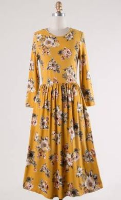 Womens knit floral midi dress with side pockets and semi elastic waist in mustard Modest Dresses For Women, Modest Skirts, Modest Outfits, Modest Fashion, Yellow Midi Dress, Floral Midi Dress, Apostolic Clothing, Clothing Co, Mustard