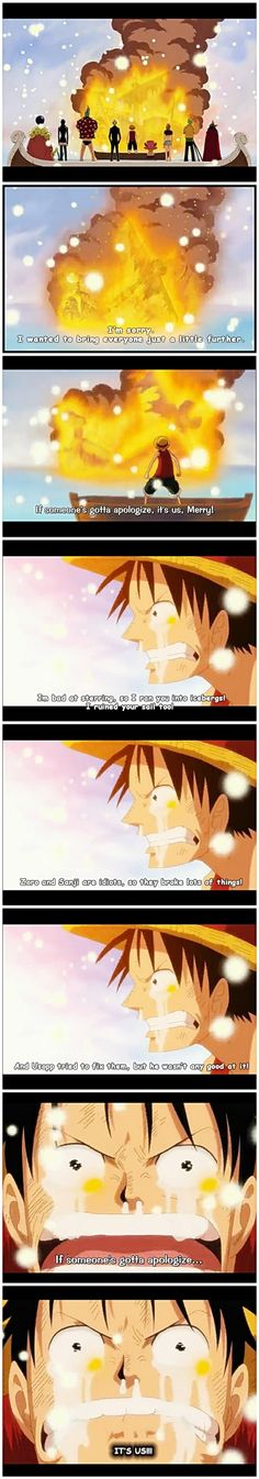 maybe a normal human sees it as a burning ship but for us, it's a dying nakama :'(