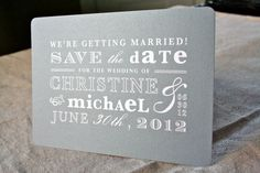 Vintage Gray and White Save the Date by designbybittersweet, $2.00