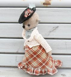 Teddy Bear in checked skirt от PensiveTeddyOfStyle на Etsy