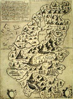 De Islandia Insvla by Giovanni Camocio. (1571). antique map of Iceland.