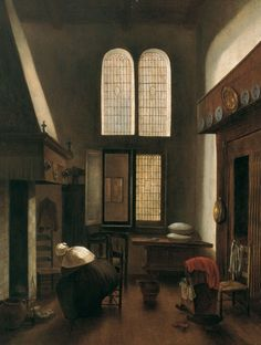 Jacobus Vrel, Interior with a Woman Seated by a Hearth. [c. 1654]