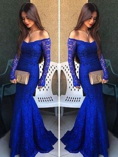 lace Prom Dresses,off shoulder prom dress,long prom Dress,royal blue prom dress,formal evening dress,BD2812
