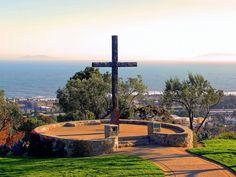 Serra Cross, Grant Park, Ventura, California, with a view of Anacapa Island.