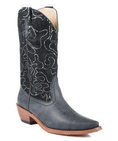 Look at this #zulilyfind! Black Embellished Cowboy Boot #zulilyfinds