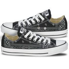 4ef74decdd1c Converse Bandana Print Pattern Black Chucks Custom Converse