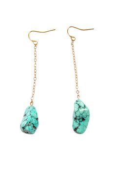 Turquoise Stone Drop Gold Chain Earrings