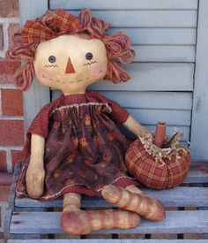 Primitive Fall raggedy Doll pattern, Harvest Ann Raggedy with Pumpkin pattern, Halloween decor, Homespun from the Heart patterns, Primitive Doll Patterns, Primitive Fall, Raggedy Ann And Andy, Pattern Paper, Paper Patterns, Sewing Patterns, Sewing Dolls, Heart Patterns, Doll Crafts