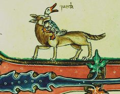 """This manuscript was made, probably in the 1310s, for someone connected with the church of St Andrew at Gorleston in Norfolk, and hence gets its common name The Gorleston Psalter. This image shows one such picture: a fox carries a goose away in its mouth, and the goose says """"queck"""" (quack). The scene is probably from the tale of Reynard the fox."""