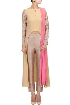 Beige high-low kurta with pants and pink dupatta BY MANISH MALHOTRA Shop the designer now at: www.perniaspopups... Nice for home parties