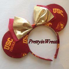 USC TROJANS inspired Mickey Mouse ears headband by PrettyinWreath on Etsy https://www.etsy.com/listing/217878622/usc-trojans-inspired-mickey-mouse-ears