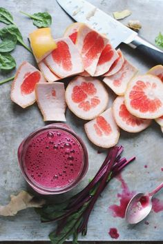 Boost your immunity and hydrate your skin with fresh Beet Grapefruit Green Juice. Perfect for citrus season and the cold winter months ahead.