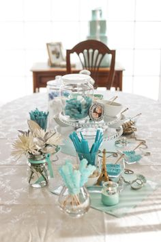 Something Blue Bridal Shower | Something Blue Tablescape.