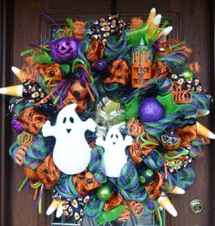 32 Deco Mesh HAPPY GHOSTS HALLOWEEN Wreath by decoglitz on Etsy