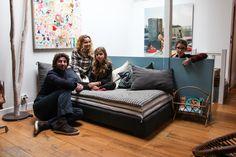 Karine Duprez et Giovanni Guida, Bianca 11 ans et Rosa 9 ans   The Socialite Family layered cushion
