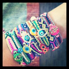 Friendship Braclets i would soo make these just not with tha eyes or hands