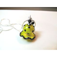Necklace yellow black ruffle and polka dot glass lampwork beads, black... ($30) ❤ liked on Polyvore featuring jewelry and necklaces