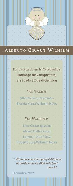 Tarjeta de recuerdo por la asistencia al bautizo