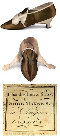 Olive color satin buckle shoes, Great Britain, 1780s. High tongue, sharp toe. Medium height Italian faceted heels. Lining is made of pink satin and flax. Maker: Chamberlain & Sons, London. http://eng.shoe-icons.com/collection/object.htm?id=1748