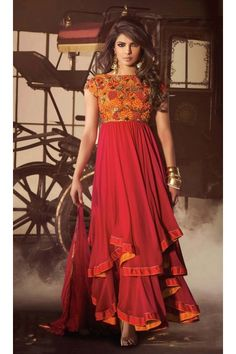 Red Faux Georgette Long Length Anarkali