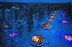 Aurora-viewing igloos at Kakslauttanen Arctic Resort, Finland. Gotta see them lightses, precious!