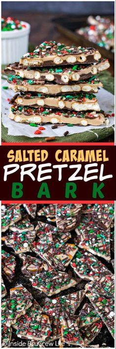 Salted Caramel Pretzel Bark - two layers of chocolate and sprinkles on pretzels make this a delicious sweet and salty treat. Easy recipe for holiday parties! Christmas Pretzels, Christmas Bark, Christmas Sweets, Christmas Recipes, Christmas Holiday, Xmas Food, Holiday Recipes, Christmas Crafts, Holiday Candy