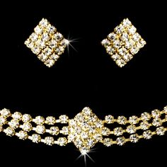 Gold or Silver Choker with Rhinestones