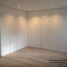 armario-puertas-correderas-lacadas-blanco-lisas-modernas-con-tirador-embutido-renteria-san-sebastian Wardrobe Room, Built In Wardrobe, Bedroom Closet Design, Home Bedroom, Loft Design, House Design, Living Room Decor Colors, Bedroom Cupboards, Home Furniture