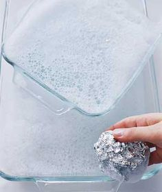Aluminum Foil as Glassware Scrubber - To get baked-on food off a glass pan or an oven rack, use dishwashing liquid and a ball of foil in place of a steel-wool soap pad