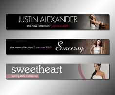 Web banner ads for Justin Alexander, Sincerity and Sweetheart.