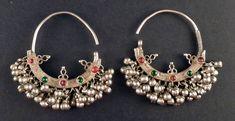 Pendientes de plata antiguos de Rajastán por ethnicadornment